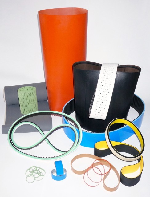 A selection of belts coated with silicone. (Image courtesy of BeltCorp.)