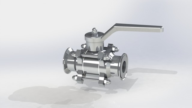 3D PC ball valve file uploaded to GrabCAD and available for download. (Image courtesy of Jay Bhatt.)