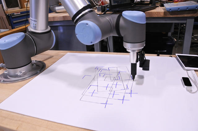 Teaching the Universal Robotics UR10 to recognize and draw shapes by humans is just one of the many projects happening at Pier 9