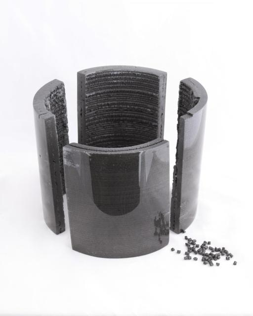 Composite pellets are melted, compounded, and extruded layer-by-layer into desired forms. (Image courtesy of Oak Ridge National Laboratory.)
