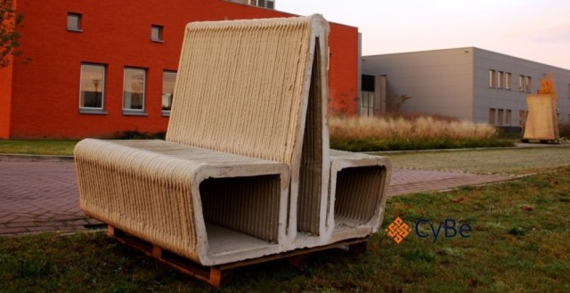 A concrete bench made with 3D printing. (Image courtesy of CyBe.)