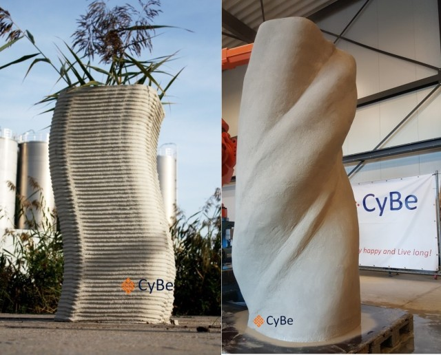 Side-by-side comparison of the normal and smooth textures created by the ProTo 3DP Concrete 3D printer. (Image courtesy of CyBe.)