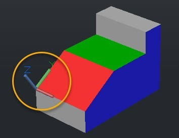 Figure 2. UCS aligned with the red plane of the 3D object.