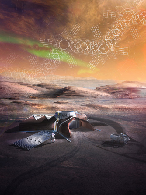 Our design consists of a two-part system of construction based on a three-armed geometry in response to the logistical challenges of building a safe and comfortable habitat for living and working on Mars. Part one consists of pre-fabricated foldable envelopes that deploy from the landing capsule when pressurized to earth-like atmospheric conditions. One wing for living and one wing for working, they are joined by the landing capsule that doubles as an intermediary airlock between the two wings and the Martian environment. Part two is a cementitious shell 3D-printed from local Martian resources. The shell both insulates against extreme temperatures as well as shields the inner envelope of the habitat from radiation, sandstorms and debris.