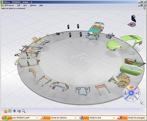 The interface of Dassault's 3D Live, which was the original name of what later became 3DEXPERIENCE.