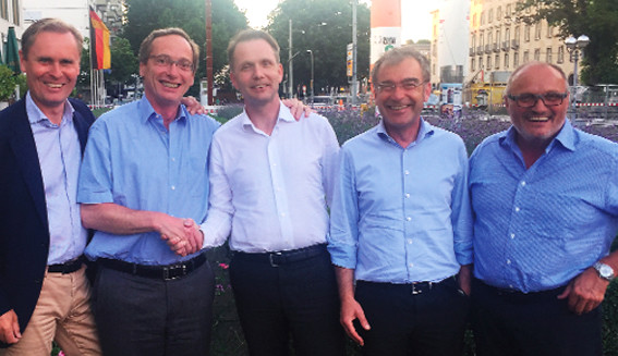 The number one Dassault VAR in Europe came into being when Technia/Addnode bought German CATIA specialist Transcat earlier this summer. Above, some influential people in this acquisition: From left, Staffan Hanstorp (CEO Addnode), Etienne Droit (Transcat), Jonas Gejer (CEO Technia) and to the right Gerhard Keller (Transcat).