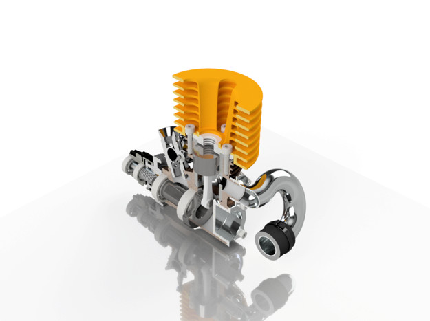 The MK II engine sample rendered well in cross section. (Image courtesy of the author.)