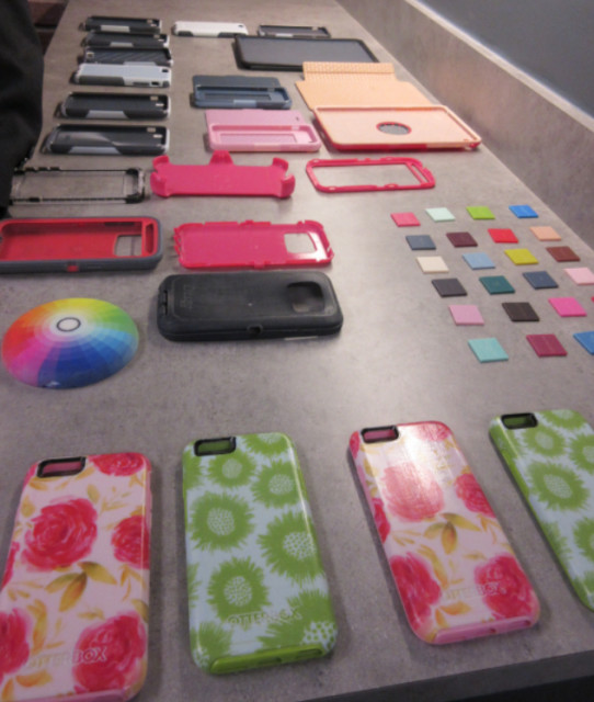 Multiple colors and materials used in OtterBox smartphone case prototypes.