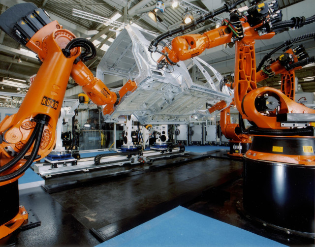 KUKA's industrial robots are widely used in manufacturing applications like automotive.