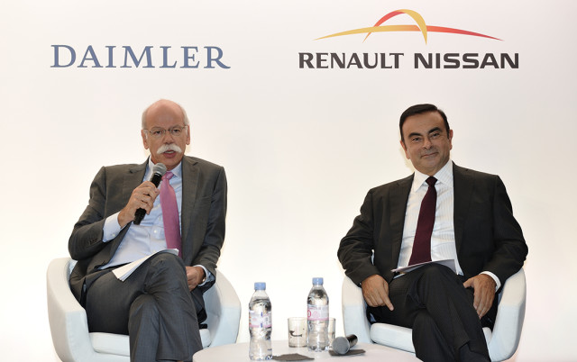 "The multi-CAD landscapes in Daimler and Renault-Nissan are an example of why standards are essential as this type of co-operation becomes more common. ""The global scale of our projects ensures that this collaboration will continue to grow, and we expect to remain partners for the long run,"" said Renault-Nissan CEO and chairman Carlos Ghosn (to the right) during the press conference where the joint venture was revealed. To the left is Daimler's CEO, Dieter Zetsche."