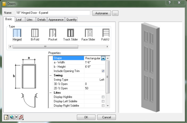 Figure 5: The Properties palette of a door element. Note the various geometrical configurations and metadata contained within the element, including the ability to attach media files (on the bottom left corner of the dialog box).