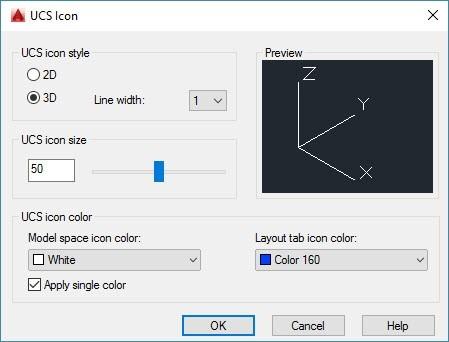 Figure 5. UCS icon properties window.