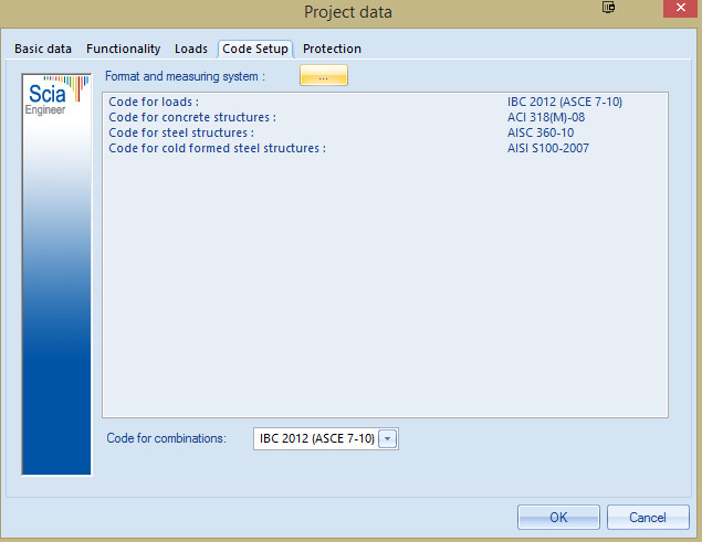 Figure 6: Scia Project Data dialog showing codes used to design a steel frame building.