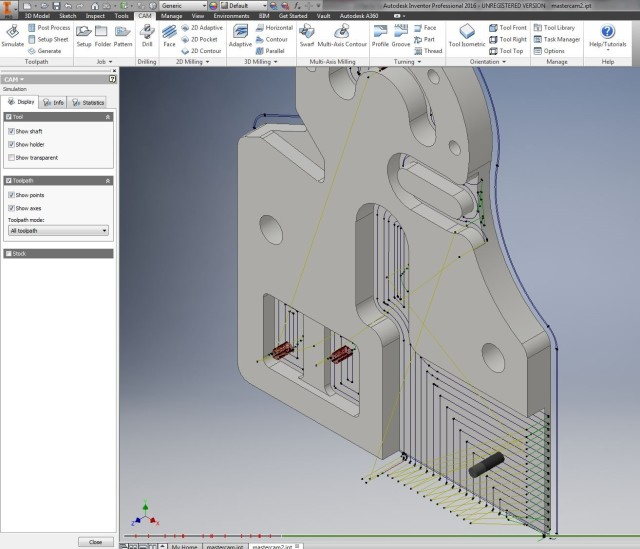 Toolpath simulation in Inventor HSM.