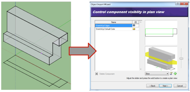 Figure 6: The new Slice plane feature of the Object Import Wizard (right) is used to specify the plan representation of geometry originally created using Google SketchUp v8. The green lines in the plan preview on the top right corner of the Envisioneer dialog box represent the cut plane. The black lines are lines I drew on the ground plane in a different layer.