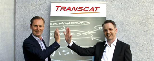 High five! Swedish Dassault VAR and PLM consultant Technias CEO Jonas Gejer (to the right) and Staffan Hanstorp, CEO of Technia owner Addnode Group, celebrates the acquisition of German CATIA specialist Transcat.