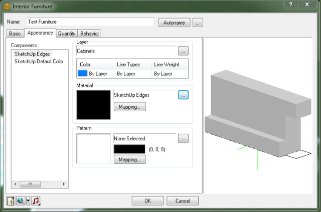 Figure 7: Imported object layers can be mapped to Envisioneer's native layers for each element. By default, the Object Import Wizard requires the user to specify the element category the import will belong to and hence the layer of the imported object is assigned automatically. The properties palette (shown in this figure) then allows the user to specify the Envisioneer layer for each of the imported layers as required.