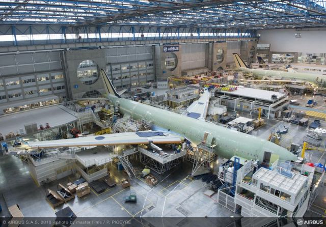 The no. 1 A330 for France's first long-haul, low-cost carrier – French Blue – takes shape at Airbus' Toulouse final assembly line. (Image courtesy of Airbus.)
