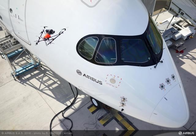 Aircraft quality inspection by drone on A350 XWB. (Image courtesy of Airbus.)