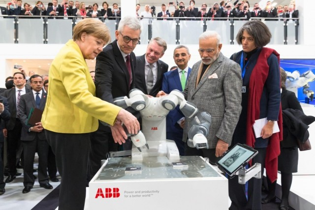 ABB's YuMi collaborative robot - safe enough to introduce to your chancellor and/or prime minister. (Image courtesy of ABB.)