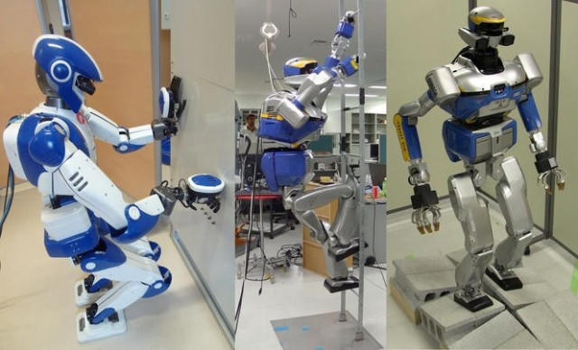 JLR's HRP-2 and HRP-4 robots are put through a series of tests for maneuverability and dexterity. (Images courtesy Joint Robotics Laboratory [CNRS/AIST])