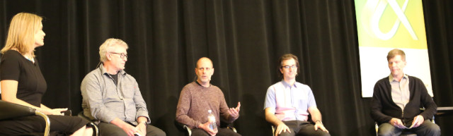 """We love technology, but…"" Future of Work panel at Autodesk University 2016. From left, Erin Bradner of Autodesk, David Weightman of University of Illinois, Ryan Kelley of MakeTime, Mike Haley of Autodesk and Randy Swearer of Autodesk. (Image courtesy of Autodesk.)"