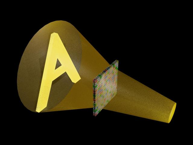 Computer rendering of a sound wave that traveled through an array of acoustic metamaterial and was shaped into a pattern like the letter A one foot past the array. This pattern could not be seen, only heard. (Image courtesy of Steve Cummer/Duke University.)