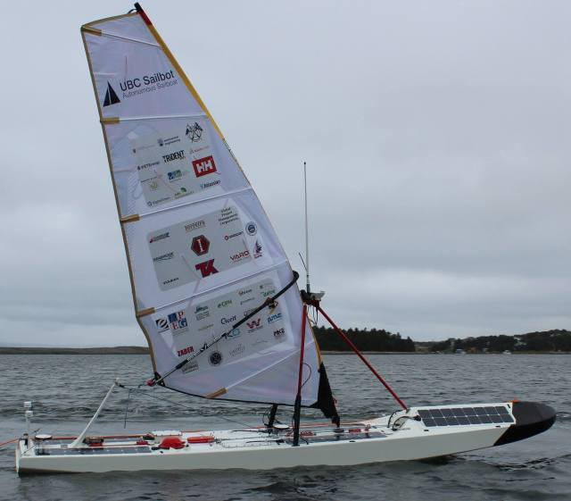 "Figure 1.The University of British Columbia's robotic sailboat, ""Ada,"" seen here during testing off Newfoundland. Ada would go on to set the record for greatest distance achieved in a Trans-Atlantic ocean crossing by a fully autonomous sailboat. (Image courtesy of the UBC Sailbot team.)"