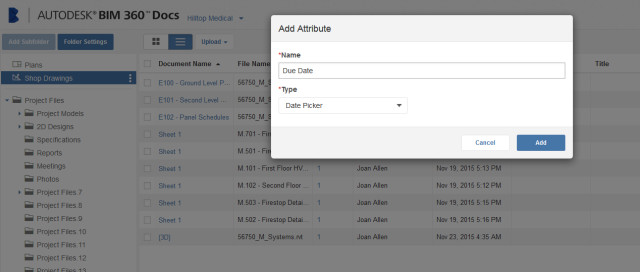 BIM 360 Docs enables users to identify and add attributes to files and folders. (Image courtesy of Autodesk.)