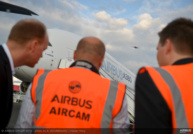 The drone Airbus used at the 2016 Farnborough Airshow to demonstrate visual inspection of aircraft by unmanned aerial vehicles has a high definition camera and is flown using an automatic flight control system supervised by a human pilot. (Image courtesy of Airbus.)