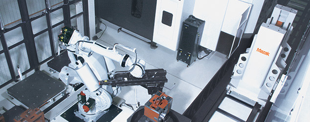 Many of Mazak's automation products are can be paired with conventional, articulated robot arms. (Image courtesy of Mazak.)