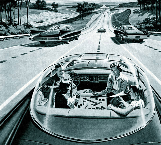 America's Power Companies' advertisement from 1956 depicting a future with autonomous cars.