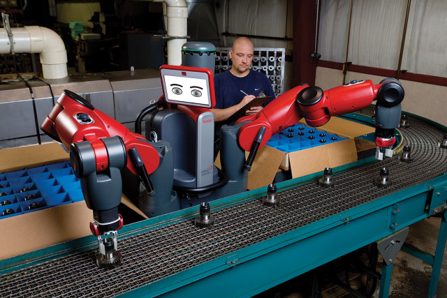 Humans train Baxter for a variety of tasks on the factory floor. (Image courtesy Rethink Robotics)