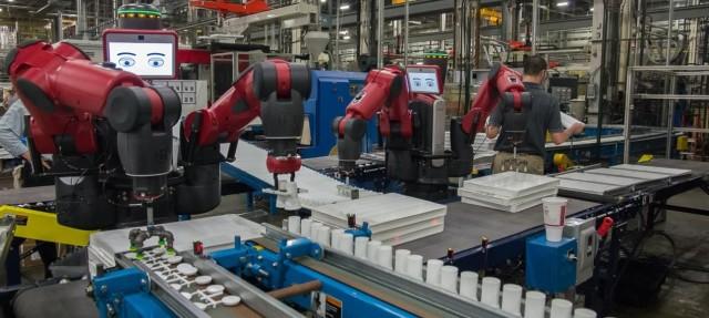 A pair of Rethink Robotics Baxter cobots, hard at work. (Image courtesy Rethink Robotics.)