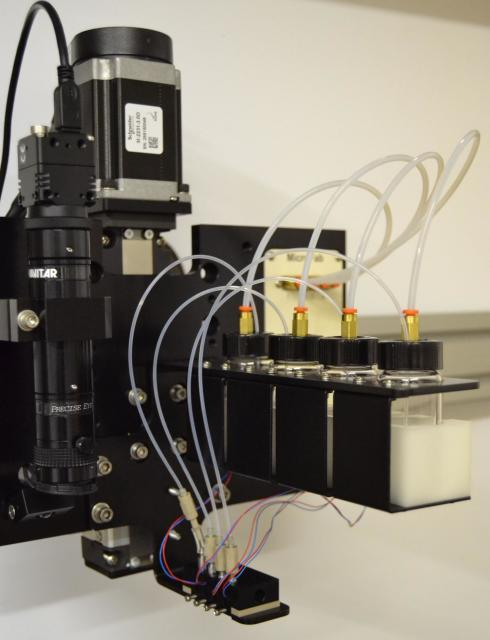 This photograph shows inkjet bioprinting for heterocellular tissue models. (Image courtesy of Ozbolat Lab at Penn State.)