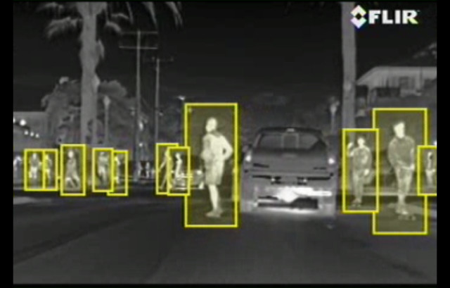 Thermal imaging used to detect pedestrians. (Image courtesy of FLIR.)