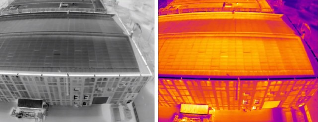 Inspecting solar panels on a roof using thermal imaging. (Image courtesy of FLIR.)