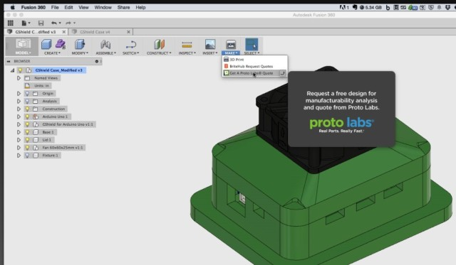 Send your model right to Proto Labs from the recent version of Fusion 360.