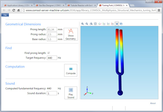 Simulation apps limit the inputs users can make, allowing experts to ensure that CAE novices can't break the analysis. (Image courtesy of COMSOL.)