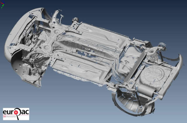 The car scan looking from underneath with the engine removed. (Image courtesy of Andy Goldstraw/The Laser Scanning Forum.)
