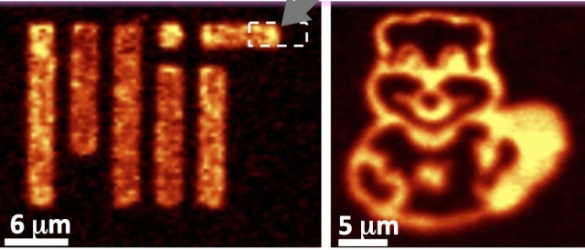 Researchers used the MIT and Tim the Beaver logos to show photoluminescence emissions from a monolayer of molybdenum disulfide inlayed onto graphene. The arrow indicates the graphene-MoS2 lateral heterostructure, which could potentially form the basis for ultrathin computer chips. (Image courtesy of Xi Ling and Yuxuan Lin.)