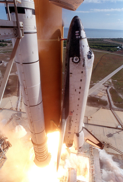 Close-up camera view of the Space Shuttle Columbia as it lifts off on Jan. 16, 2003.