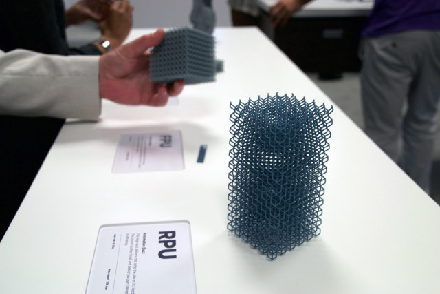 On display at RAPID 2016, a part 3D printed from Carbon's rigid polyurethane material on the ultrafast M1 3D printer.