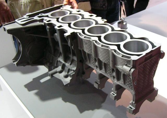 Engine block with aluminum and magnesium diecastings.