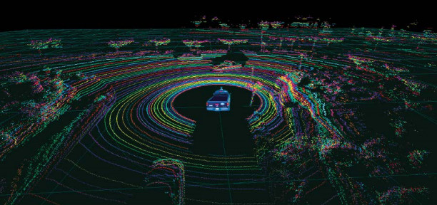 An actual point cloud image from the Velodyne 64 laser LIDAR, showing a vehicle at an intersection mapping other vehicles and road features around it. (Image courtesy of Velodyne LiDAR.)