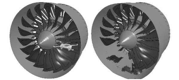 Personal drone takes out multiple turbofan blades. Image courtesy of Virginia Tech.
