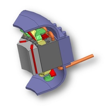 Section design of the electric motor includes the magnets, rotor, stator, and cooling system.