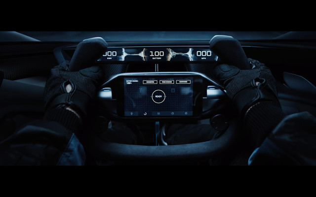 Steering column with integrated smartphone technology. (Photo courtesy of Faraday Future.)