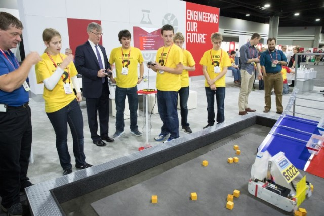 """FIRST Tech Challenge Team 6022, """"TBD"""", with Rockwell Automation President and CEO, Blake Moret (Photo courtesy of Business Wire.)"""