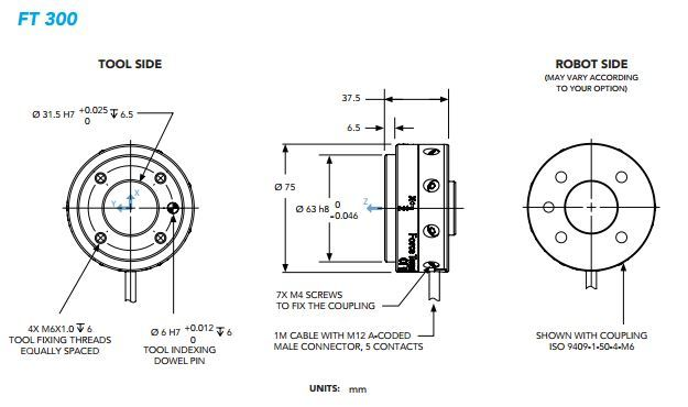 Diagrams detailing Robotiq's FT 300. (Image courtesy Robotiq.)